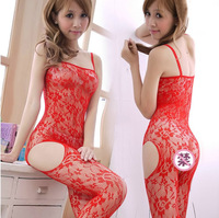 Sexy stockings one-piece open-crotch fishnet stockings sexy lace female plus size pantyhose ultra-thin transparent milk