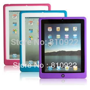 For ipad2 new ipad ipad3 ipad4 protective case,colorful soft TPU protective sleeve +screen film,free shipping(China (Mainland))
