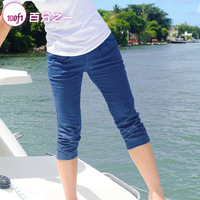 Spring cotton cloth jeans women roll-up hem casual pants female skinny pants d1833