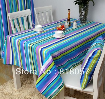 Plaid color    table cloth fabric tablecloth 100% cotton canvas rustic  tc005