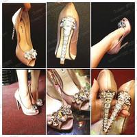Free shipping hot new 2014 high heels fashion pumps wedding rhinestone luxury women shoes high heel bridal shoes woman peep toe