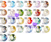 Plating color Crystal loose Beads big hole bead Jewelry DIY accessories multi-color 100PCS