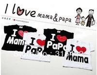 Free shipping, Pure Cotton Children Top Tees, I love Papa Mama Baby T-shirts, Kids short sleeve shirt