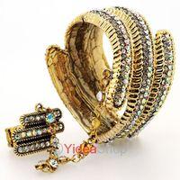 FREE shipping!!  HOT SALE! 2pcs Cool Vintage Punk Multicolor Rhinestone Statement Bangle Bracelet Ring Set 261241