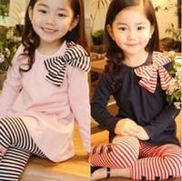 Bow long-sleeve stripe legging set. 2013 spring children's clothing child  female child sports casual twinset