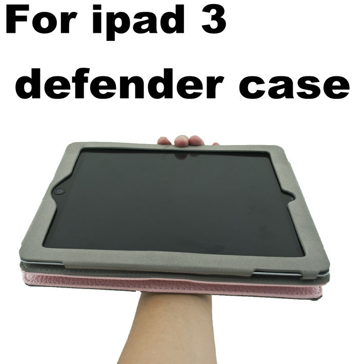 handhold strap case for ipad3 defender case for ipad 3 with leather pouch case for ipad 3 DHLfree shipping 20pcs(China (Mainland))