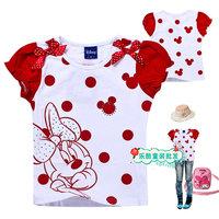 Free shipping 2013 summer short-sleeve T-shirt 3003 summer puff sleeve girl t-shirt