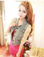 2014  New Free Shipping  stereo disk flowers beading bag light color water wash denim short jacket