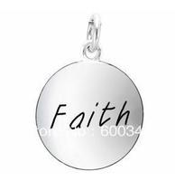 free ship 15pcs a lot power engraved faith  unique silver charm jewelry