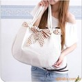Korean fashion bag High Quality Weave Shoulder Bags with Cute Bowknot Designer Handbags  free shipping xz014