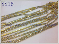 Crystal Chain Rhinestone Cup Chain(densify claw)  SS16(3.8-4mm) Crystal Stone,Golden Base,10Yards/Lot, Garment Accessories