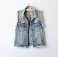 2012 spring women's skull rivet solid Washed denim vest jacket turn down collar vintage Ripped hole Scratched vest coat