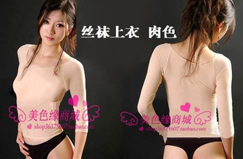XJ Stockings top dance clothing skin tight thermal clothing thickening 120d translucent sexy yoga clothing