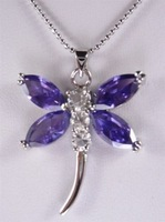 New Fashion Jewelry beautiful natural purple amethyst dragonfly pendant necklace  + free chain  free shipping