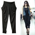 Brief elegant ankle length trousers milk, silk harem pants black ultra elastic legging women&#39;s 595