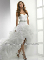 Sweetheart Organza Short Front Long back Wedding dress 2014