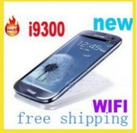 in stock free shipping (TV WIFI optional) unlocked dual cards 4.0ich I9300 mobile phone white/black/blue color phones