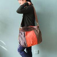 free shipping new arrivel 2014 color block patchwork women's handbag canvas+cowhide handbag one shoulder cross-body bag
