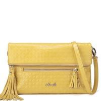 Leather tassel Geometric cut out cross-body bag women's handbag