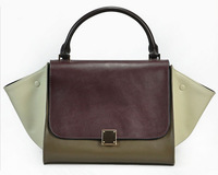 Genuine leather Trapeze bag / Woman shoulder bag / High capacity handbag with Colorblock Patchwork design for New season(SP0441)