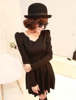 Wave 237 puff sleeve slim autumn one-piece dress