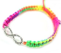 fashion drill bracelet  charm macrame braided rope surfer beaded bracelet lot 6pcs free shipping