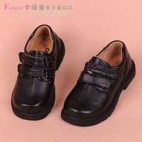 Male child leather child leather black leather student leather boys shoes flower leather 25 - 38