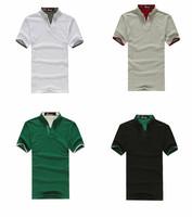 Wholesale 2014 Male summer tees cotton blending V-neck short-sleeved t-shirts men casual shirts tops Grey/Black/White/Green/Blue