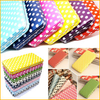 New Korea Fashion Cute Dot Candy Color Card Coin Purse Genuine PU Leather Ladies Long Wallet 10pcs/lot
