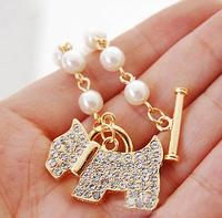 Free Shipping,Wholesale Fashionable Gog-Shaped Pearls Bracelet And Bangles