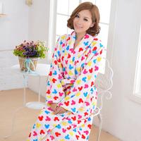 Winter thickening coral fleece robe men's women's lovers bathrobe sleepwear lounge