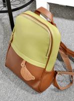 Mushroom hot PU color block bear backpack fashion backpack women's handbag casual bag