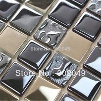 Silver blue black metal crystal glass mosaic tile wall tile SH-66