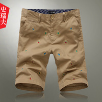2013 summer male embroidery beach pants male trousers casual shorts