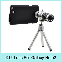Aluminum alloy 12X Zoom Optical Lens Phone Telescope Telepoto Camera Lens with Tripod for Samsung note2 N7100 Special Offer