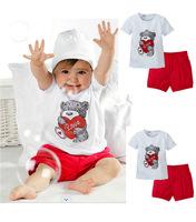 Retail1sets free shipping top quality!baby clothing set cute boy\girl bear suit tshirt+pant summer kid 2pcs set suit 80-90-100