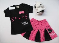 WHOLESALE 5SETS/LOT 2013 SUMMER BABY CLOTHING SETS GIRLS HELLO KITTY 2PIECES SETS DRESS+T-SHIRT WHITE /BLACK SIZE90CM---130CM