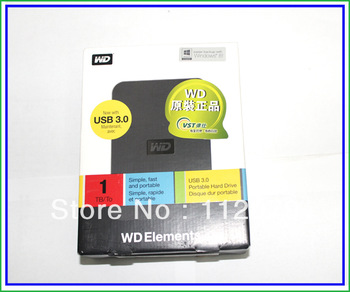"Free shipping New 2.5"" Western Digital USB3.0 Elements SE 1TB/1000GB (WDBPCK0010BBK) External Hard Drive for PC,3 years warranty"