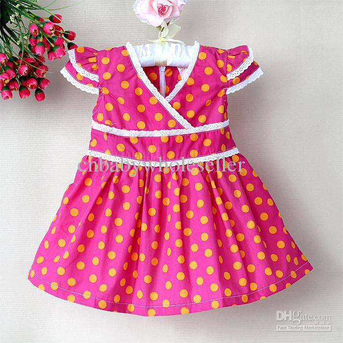 2013 Sunmmer Dress Princess Party Girls Hot Pink Polka Dots Beautiful Infant Dresses Child Clothes(China (Mainland))