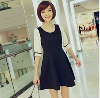 In stock !!2013 new fashion Classic white black dress for woman ,half sleeve summer bow mini dress OL slim dress plus size