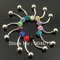 24pcs/lot  16g Stainlessl Steel 4mm full Crystal Balls Eyebrow Ring Micro Bent Barbell with Jewely Balls promotion free shipping