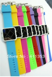 Drop shipping Free shipping Small Square LED Watch LCD Digital Electonic multicolor Fashion watch and gift(China (Mainland))