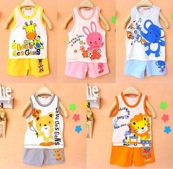 2013 new arrive baby boys cartoon suit summer top+ short pant kids clothing set fit 1-3yrs 6sets/lot 1934