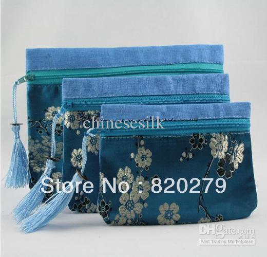 Best Women Makeup Bag Sets Silk Embroidered Zipper Storage Pouch 10Set/lot (1set=3pcs)mix color Free(China (Mainland))