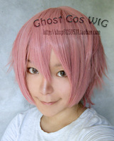 Vocaloid:Ruka (male) pink short shaggy layered anime costume cosplay wig,Synthetic hair.Free shipping