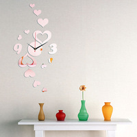 2014 new home & garden decoration romantic hearts diy wall clock for wedding room decoration 3d acrylic wall clock for home