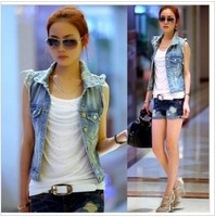 Free shipping Water wash distrressed 2013 summer personality cardigan women's denim vest outerwear jeans vest