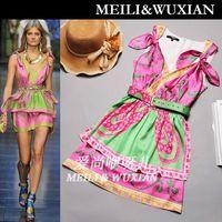Top fashion Colorful dresses high quality women vintage silk dress, new dresses 2013, casual belt cat dress