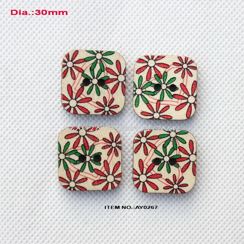 (60pcs/lot) Vintage painted square wooden sewing buttons China scrapbooking 30mm-AY0267(China (Mainland))