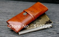 Free Shipping Vintage style /PU Leather Tether Pencil Case/pencil Bag/pen Pocket/Cosmetic Bag